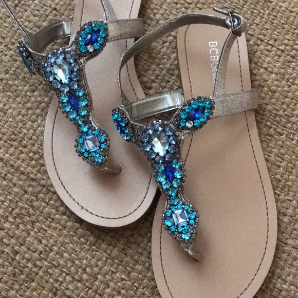 76916a9f4 BCBGeneration Shoes - BCBG Blue Rhinestone Sandals